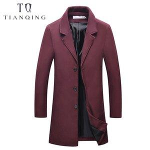 Marke Mens 2018 Herbst Winter neue Männer dünne lange Woolen Jacke Mode lässig Business Wein rot, blau Mantel Mantel männlich