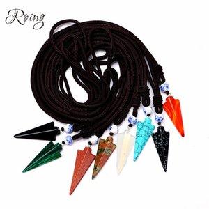 Roing Natural Stone Arrow Pendant Rope Chain Necklace Gioielli in cristallo Choker Strass Malachite Tiger Eye Opal Quartz N001