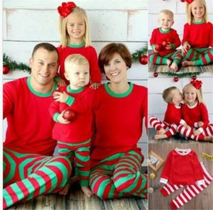 10pcs Noël Enfants adultes de la famille assortis Christmas Deer Striped Pajamas vêtements de nuit pyjamas bedgown sleepcoat nighty Y258