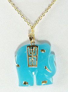 Atacado Sky-Blue Jade Amarelo Banhado A Ouro Elefante Pingente de Colar