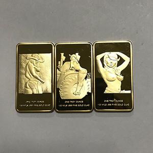 3 Pcs (1 conjunto) A mulher sexy bonito menina crachá 24 K banhado a ouro real distintivo 50 x 28mm amante do sexo presente moeda lembrança
