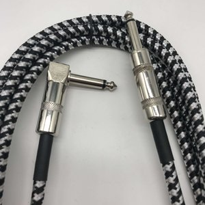 6 Meters  20 Feet Electric Guitar Bass Musical Instrument Cable Cord 1 4 Inch Straight to Right Angle Plug Black White Woven J
