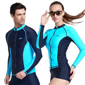 Пары с длинным рукавом плавать RashGuard рубашки UPF50 Anti-UV Rash Guard Top с застежкой-молнией Мужчины Женщины Rashguard Surf Куртка Плюс Размер XXXL