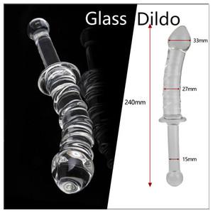 Long Pyrex glass dildo 섹스 토이 크리스털 엉덩이 항문 플러그 여성 레즈비언 남성용 핸들