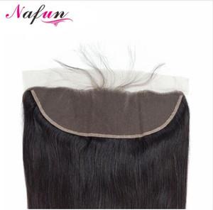 Chiusura frontale in pizzo 13 * 4 capelli lisci brasiliani con chiusura in pizzo 100% capelli umani / capelli medi / tre capelli