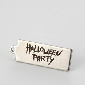 "Colgante Spooky Jewelry de acero inoxidable Hallween Charm ""HALLOWEEN PARTY"" 12 * 35MM"