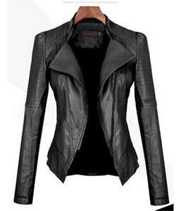 가을 여성 블랙 가짜 가죽 자켓 슬림 맞는 오토바이 자켓 캐주얼 가짜 가죽 코트 아우터 의류 FS5913