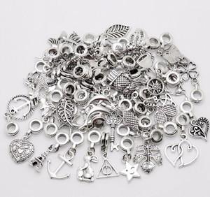 100 adet / grup Gümüş Kaplama Karışık Vintage Big Hole Gevşek Boncuklu Avrupa Kolye fit Pandora charms Bilezik diy Takı Yapımı Için bulgular