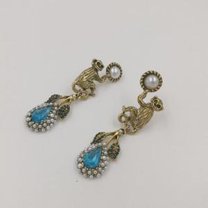الباروك خمر كريستال القرد أقراط للنساء الأزياء والمجوهرات لؤلؤة ليف أقراط قلادة الزفاف القرط بيجو