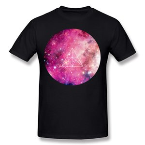Mix Order Mens Percent Cotton Geometric Space Solar T-Shirts Mens O-Neck Dark Green Round Collar T Shirt Plus Size Custom T-Shirts