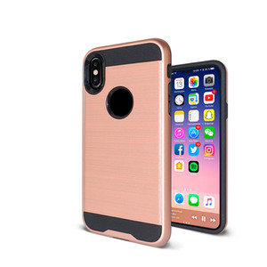 Para Iphone X 8 7 Plus Hybrid Brushed Dual Acodado a prueba de golpes Armor Case para iPhone 6 6 Plus ZTE Zmax Pro LG Q6 Aristo 2