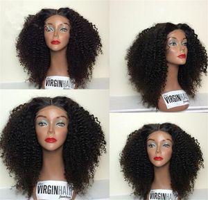 En İyi Kısa Afro Kinky Kıvırcık Peruk Bakire Perulu Dantel Ön Peruk Kinky Kıvırcık Tutkalsız İnsan Saç Bangs Bebek Saçlı Tam Dantel Peruk