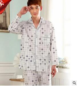 MLXSLKY Pijamas de algodón de manga larga para hombres Primavera otoño Pijama de punto de solapa Pijamas de manga larga Traje Hombres Pijamas Inicio Conjunto