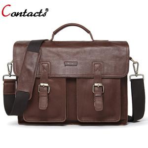 CONTACT'S Erkekler çanta Inek Hakiki Deri Çanta Erkekler çanta Omuz Messenger Çanta Erkekler Iş Laptop Evrak Çantası Portföy