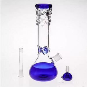 Bowl Joint 14.4mm 27cm Blue Glass Bongs Wasserpfeife Inline-Recycler Percolato Rauchen Wasserpfeifen Handblasende Ölbohrgeräte