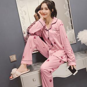 2018 Spring Pajamas Cotton Modal Lapel Pure Gray Suit Large Size Comfortable
