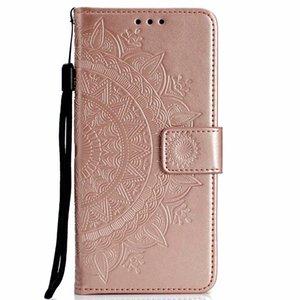 Para xiaomi redmi 4x 5a 5 plus 5 plus impressão carteira de couro da pele da caixa em relevo totem lace flor flip tampa do cartão coque bolsa de girassol cinta