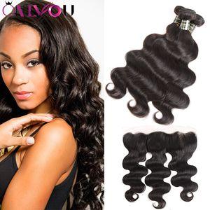 Оптовой 10A Бразильского Body Wave Human Пучки волос с 13 * 4 шнурком фронтальным уха до уха необработанного Virgin Extensions волоса соткать Связки