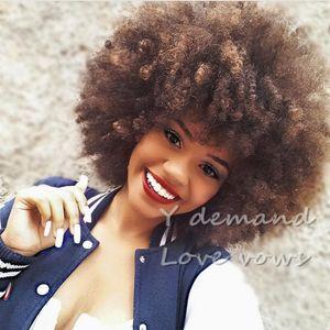 Afro Kinky Peluca rizada Moda Pixie Corte pelucas sintéticas Corto mullido BOB Cabello castaño para mujeres Pelucas completas En stock Fibra de alta temperatura