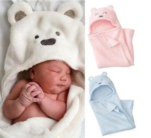 Hooded Plush Swaddle Blanket, Extra Soft Blanket Premium 100% CoralVelvet Bath Towels for Kids Newborn Joyful Cartoon Design(Three Colors)