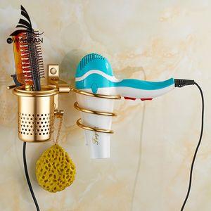 Secador de pelo Titular Con Taza Hogar Rack Secador de Pelo Estante de Metal Montaje de Pared Accesorios de Baño Gold Hair Dryer Rack 9248
