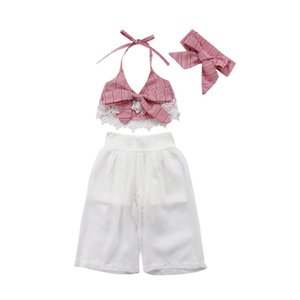 2018 Emmababy Baby Girls Lace Striped Bow Tie Tops + Tulle Pantalones anchos blancos Diadema Conjunto Trajes w