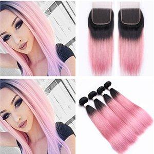 Seidiges gerades # 1B / Pink Ombre Indisches Jungfrau-Menschenhaar 4 Bundle Deals mit Lace Closure 4x4 Dark Root Ombre Pink Weaves mit Verschluss
