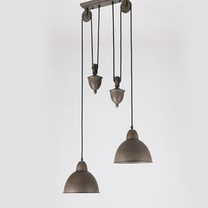 Nordic American Country Vintage Loft Puleggia lampada a sospensione Cafe Sala da pranzo Luce Ferro Puleggia Lampadari Light Fixture