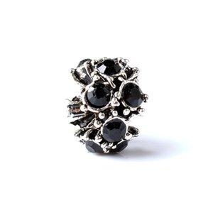 Hot-Selling Charm Bead With Black Crystal Rhinestone Big Hole Fashion Women Jewelry European Style For Pandora Bracelet