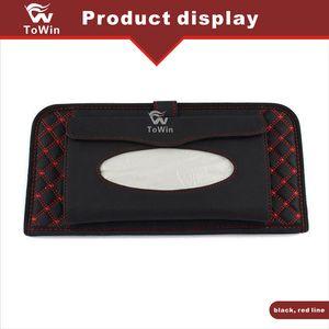 Multifuncional Grande Capacidade Car Tissue slot Box Compact Disk Couro Elegante Car Interior Car Acessórios Sunvisor armazenamento de escritório