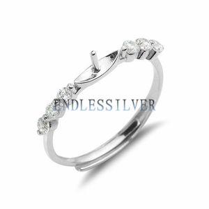 Основание кольца 925 стерлингового серебра с тремя циркон камень Pave Настройка на каждом заключениями Side Ювелирные изделия