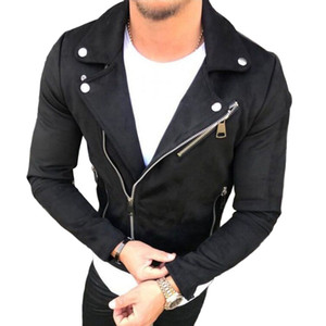 Fashion Mens Suede Leather Jackets Coats Lapel Zipper Slim Biker Jacket Pokets Oversize Zipper Streetwear Male Hip Hop Outwear