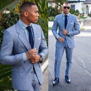 2018 Tuxedos Groom Bleu clair Custom Made Pas Cher Groomsmen Suit Slim Fit Meilleur Homme Blazer Costumes de Mariage Hommes (Veste + Pantalon + Cravate)