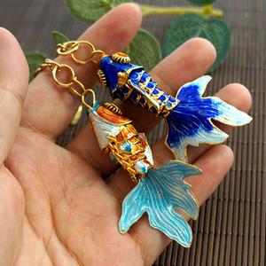 5.5cm unique poisson rouge émail swing Lifelike Keychain Porte-clés chinois Cloisonné Bijoux de poissons de Koi Porte-clés Charms cadeaux Pendentif avec boîte