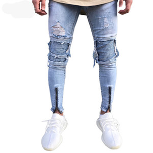مصمم الأزياء يتأهل انفجرت الجينز الرجال مرحبا الشارع رجل ركض المتعثرة الدينيم مطاطا الركبة ثقوب خمر دمرت الجينز