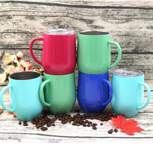 12 أوقية مقبض البيض كأس الفولاذ المقاوم للصدأ القهوة الشاي بهلوان النبيذ الزجاج السفر في الهواء الطلق أكواب البيرة OOA6507