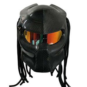 VCORCS diablo de fibra de carbono casco de motocicleta de cara completa personalidad de la noche del demonio artesanía casco de moto DOT aprobar