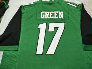 Homens Marshall Trovão Rebanho Isaiah Verde # 17 real Completo bordado College Jersey Tamanho S-4XL ou personalizado qualquer nome ou número de jersey
