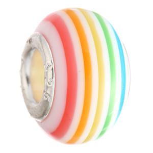 50PCS Mix Couleur verre Charms Perles en verre de Murano Joli européen Grande Big Hole Rroll Perles Charm Fit For Bracelets Collier cadeau de Noël