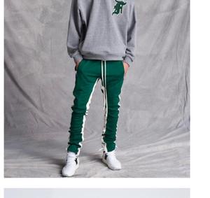 2018 Новый Зеленый цвет страх Божий пятая коллекция повседневная Спорт сторона молния повседневная тренировочные брюки мужчины хип-хоп бегуном брюки 4 стиль
