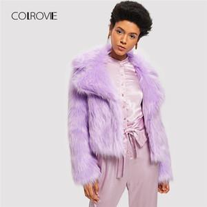 COLROVIE Violet Manteau En Fausse Fourrure Chaud Partie Chaud Manteaux D'hiver 2018 Streetwear Ouvert Devant Femmes Crop Manteau De Mode Outwears