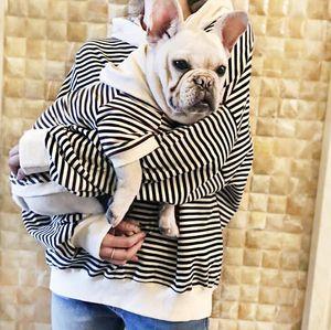 Nueva ropa de mascotas con rayas para perros pequeños Sudadera con capucha de algodón Bulldog francés Outfit S to 4XL