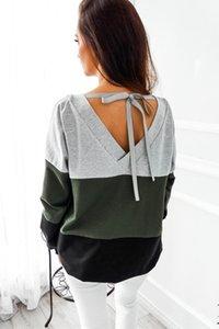 Moda Bayan Uzun Kollu Çizgili Üst Ekip Boyun Rahat Gevşek Ekleme Renkler Polyester Sıcak Satış Sonbahar Hoodies Kazaklar