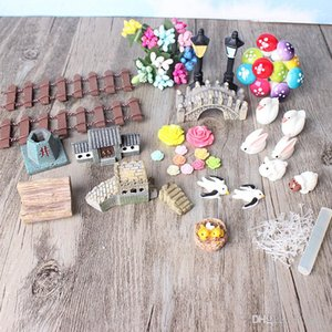 49pcs Decorazione Set Coniglio Fiore Resina Artigianato Bella Miniatura Giardino Artificiale Bonsai Kawaii Decor Mini Bambola Realistica Figurine 21hp ZZ