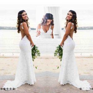 Sexy Lace Vestidos De Casamento País Estilo Conde Trem V Profundo Pescoço Sem Encosto Vestido De Noiva Hoho Barato Sereia Artesanal Vestidos De Noiva Desgaste Simples