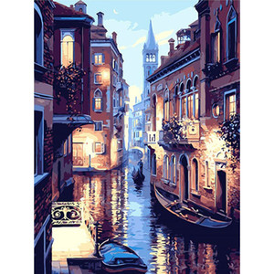 New arrival DIY Oil Painting by Numbers Kit Theme Venice Night Scene Kit for Adults Girls Kids White Christmas Decor Decorations Gifts 50x40