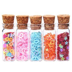 HIPSTEEN 6Pcs 2.5ML Glass Boles Empty Sample Storage Jars with Cork Stoppers Lile Wishing Bole