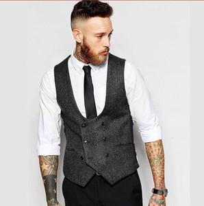 abito da sposo nero grigio abiti da uomo per matrimonio 2018 nuovi groomsmen vestibilità slim fit uomini d'affari vestono abiti da cerimonia
