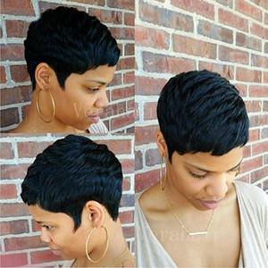 인간의 짧은 밥은 검은 색 여성 짧은 머리 글루리스 가발 앞머리 저렴한 픽시 컷 아프리카 계 미국인 가발 전체 헤어 레이스 가발을 잘라