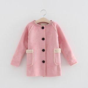 2 a 6 años Abrigos cruzados de moda otoño / invierno para niñas, ropa de niños de color rosa cálido, ropa de adolescente para niños, tienda, R1AZR810CT-01